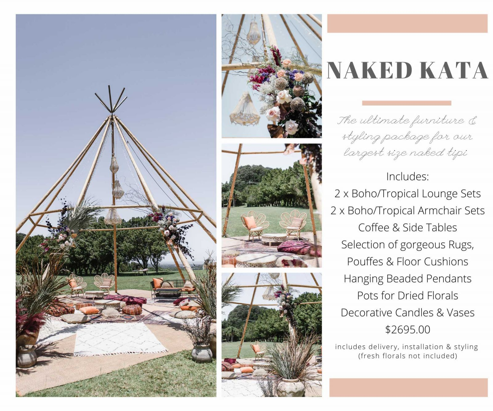Tipi furniture & styling packages